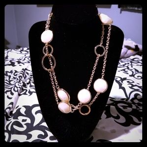 Gold Tone Necklace with White Stones